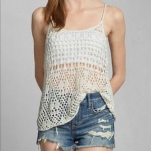 Abercrombie & Fitch off-white crocheted tank